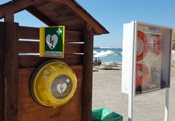 AED inside Rotaid in public area